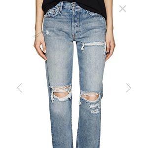 GRLFRND Helena Distressed Straight-Leg Jeans